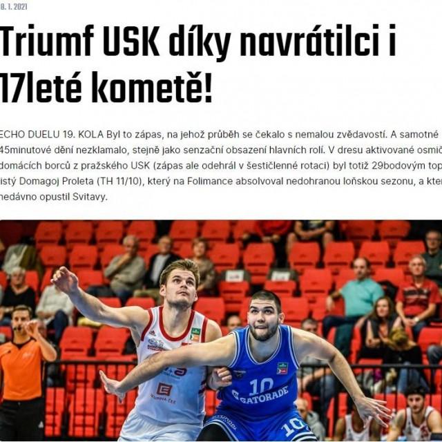 Trijumf USK-a zahvaljujući povratniku i 17-godišnjoj zvijezdi - naslov je na službenoj stranici čeških košarkaških liga