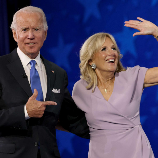 WILMINGTON, DELAWARE - AUGUST 20:: Democratic presidential nominee Joe Biden appears oh stage with his wife Dr. Jill Biden after delivering his acceptance speech on the fourth night of the Democratic National Convention from the Chase Center on August 20, 2020 in Wilmington, Delaware. The convention, which was once expected to draw 50,000 people to Milwaukee, Wisconsin, is now taking place virtually due to the coronavirus pandemic. Win McNamee/Getty Images/AFP<br /> == FOR NEWSPAPERS, INTERNET, TELCOS & TELEVISION USE ONLY ==