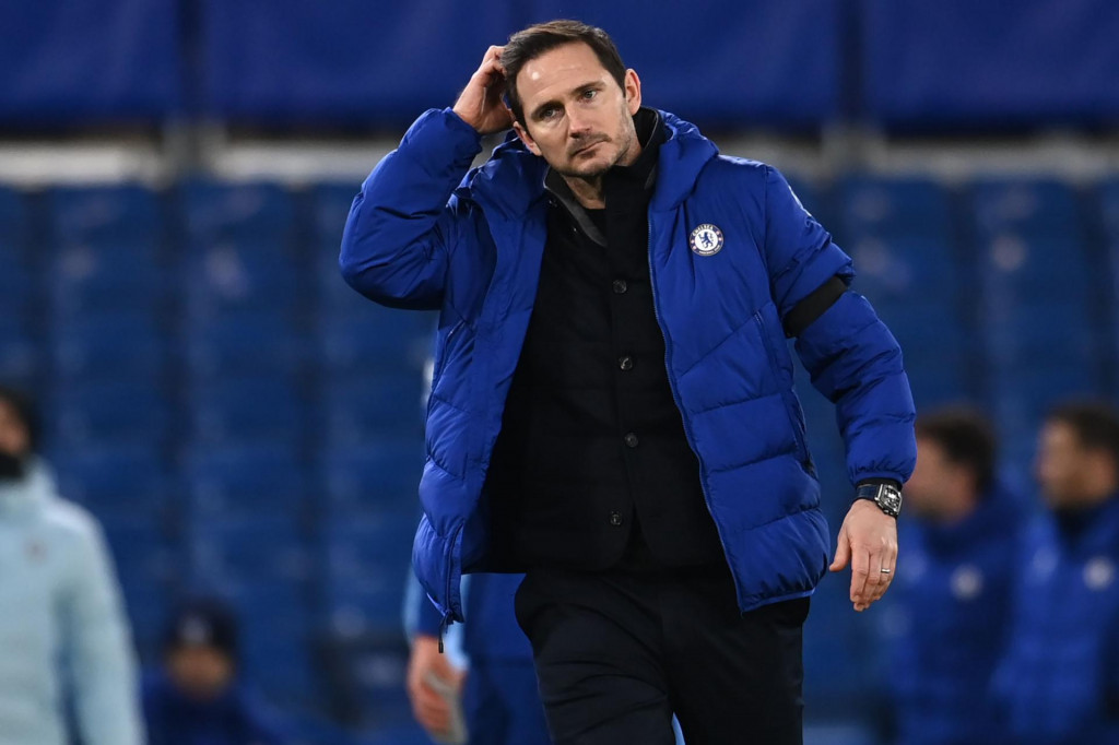 (FILES) In this file photo taken on January 03, 2021 Chelsea's English head coach Frank Lampard reacts to their defeat on the pitch after the English Premier League football match between Chelsea and Manchester City at Stamford Bridge in London. - Chelsea announced on January 25, 2021 they had sacked manager Frank Lampard after a poor run in the Premier League. (Photo by Andy Rain/POOL/AFP)/RESTRICTED TO EDITORIAL USE. No use with unauthorized audio, video, data, fixture lists, club/league logos or 'live' services. Online in-match use limited to 120 images. An additional 40 images may be used in extra time. No video emulation. Social media in-match use limited to 120 images. An additional 40 images may be used in extra time. No use in betting publications, games or single club/league/player publications./