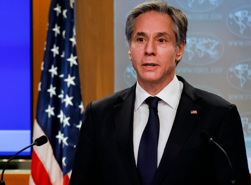 US Secretary of State Antony Blinken addresses reporters during his first press briefing at the State Department in Washington, DC, on January 27, 2021. (Photo by CARLOS BARRIA/POOL/AFP)