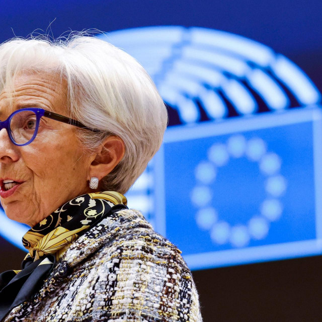 European Central Bank President Christine Lagarde addresses European lawmakers during a plenary session at the European Parliament in Brussels, on February 8, 2021. (Photo by Olivier Matthys/POOL/AFP)