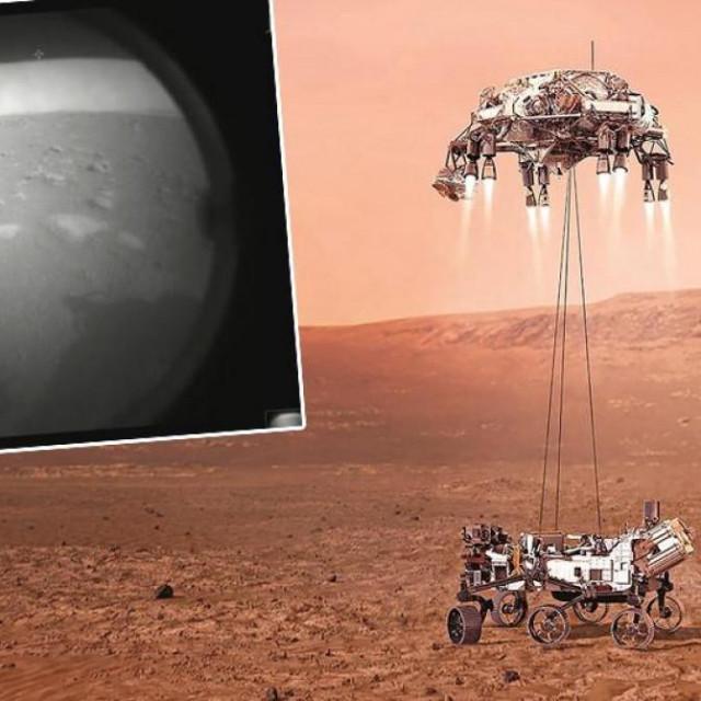 Ilustracija rovera Perseverance; u pravokutniku: prva fotografija koju je Perseverance napravio na površini Marsa