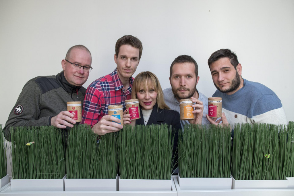 Ekipa iz startupa 'Mushroom Cups' - Morten Smalby, Stipe Režić, Ana Mari Režić, Goran Pavlov i Ante Dagelić