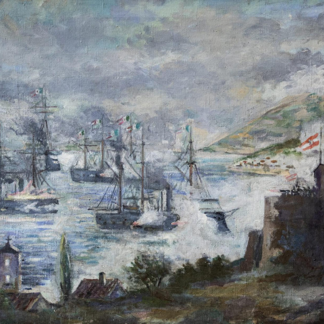 Ulje na platnu <em>Talijanska flota razara Vis</em> slikara Vinka Foretića iz 1953. godine