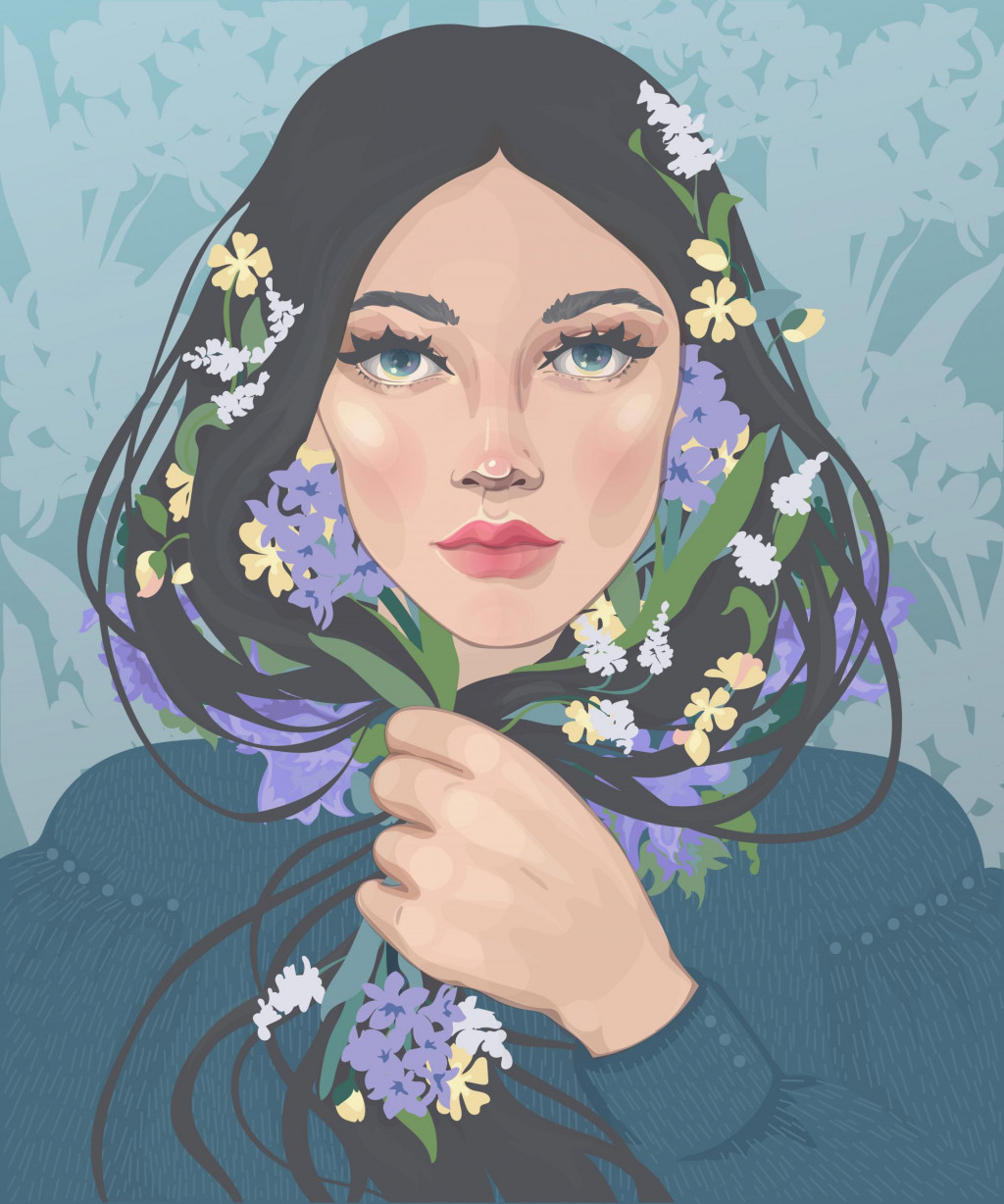 vector of a beautiful dark-haired girl with blooming spring flowers in curls