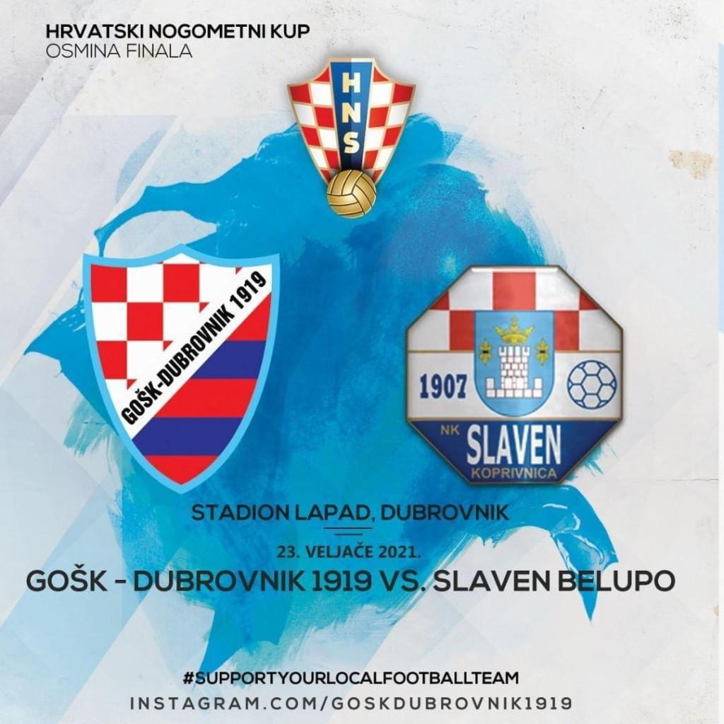 Osmina finala Hrvatskog nogometnog kupa, Dubrovnik, utorak, 23. veljače, 14 sati: GOŠK Dubrovnik 1919. - Slaven Belupo