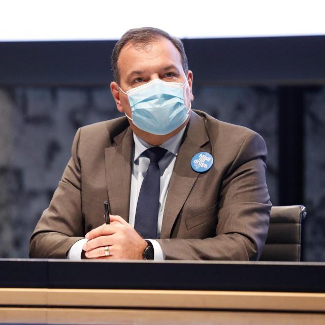 Zagreb, 260221.<br /> NSK.<br /> Nacionalni stozer civilne zastite RH odrzao koferenciju za medije.<br /> Na fotografiji: Vili Beros.<br />