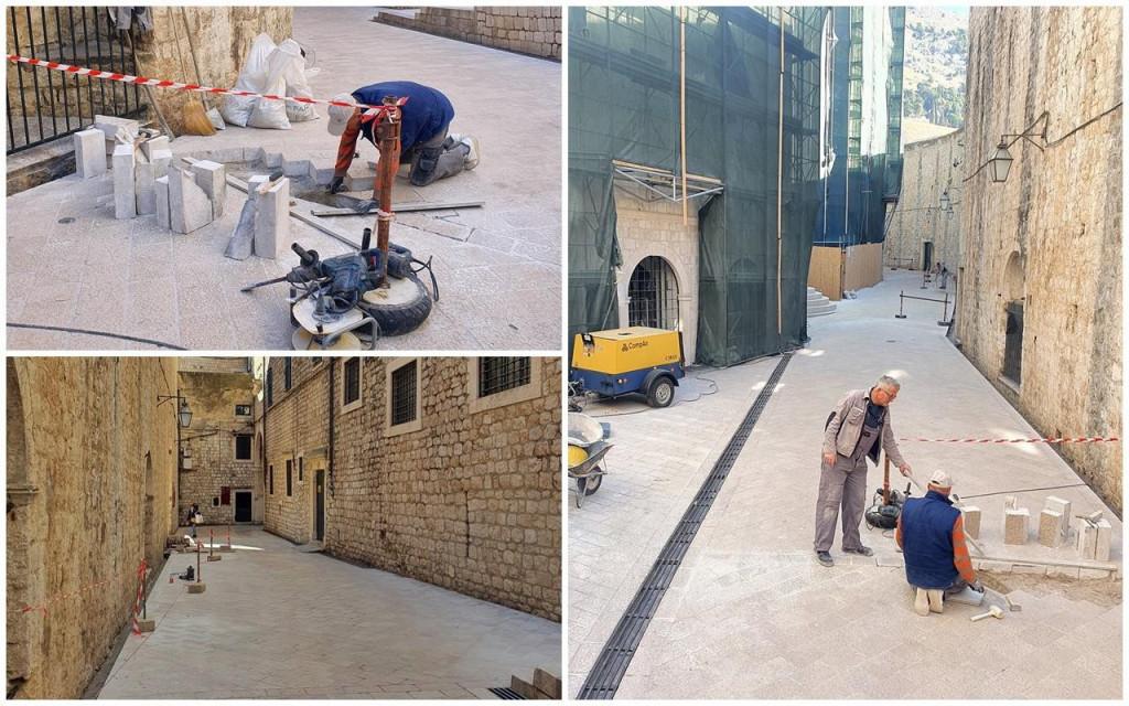 s prvim danom ožujka započeli radovi popravka oštećenog pločnika u Ulici svetog Dominika
