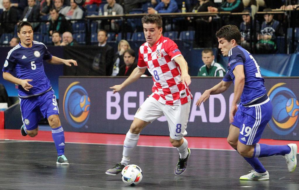 Dario Marinović, najbolji strijelac hrvatske malonogometne reprezentacije - na slici protiv Azerbejdžana u Beogradu na EP-u 2016. godine foto: Tonči Vlašić