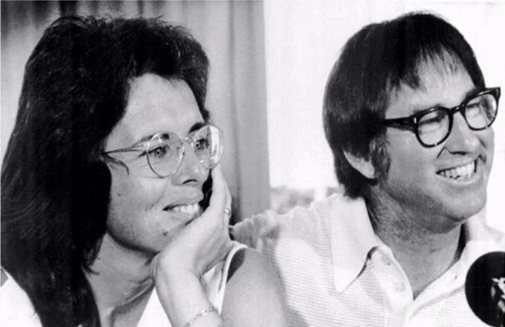 Billie Jean King i Bobby Riggs na konferenciji za medije