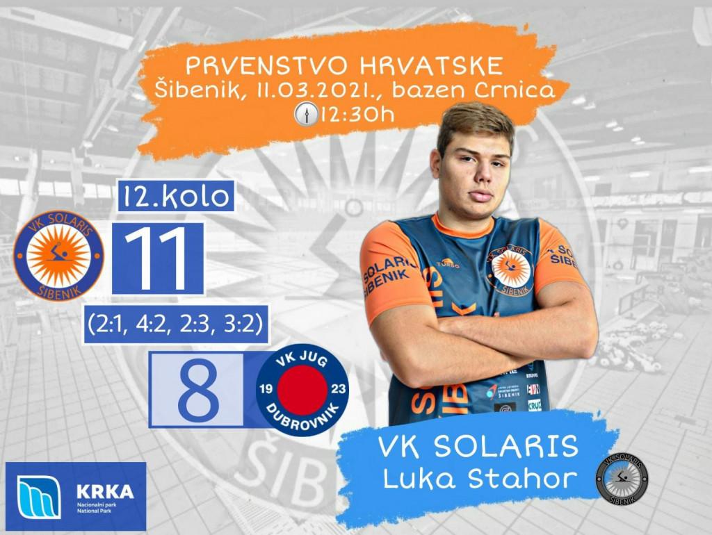 Senzacija sezone - Solaris za koji igra Dubrovčanin Luka Stahor, dijete Juga, s 11:8 pobijedio Jug Adriatic osiguranje