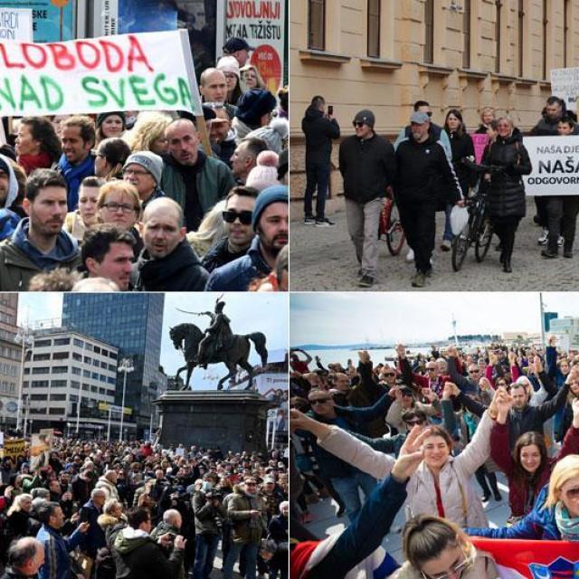 U pet hrvatskih gradova održani prosvjedi protiv 'korona' mjera