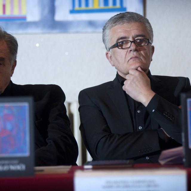 Josip Botteri i Miljenko Galić na promociji Galićeve knjige 'Krilo noći'<br />