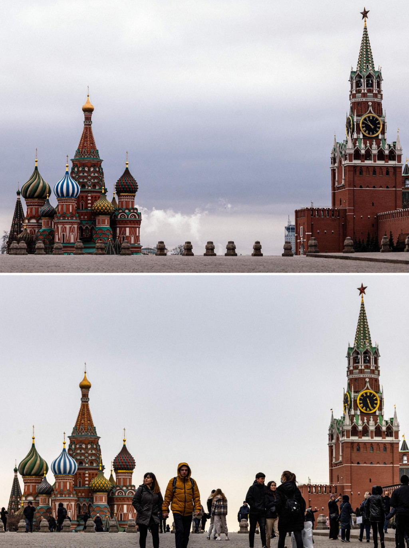 Usporedna fotografija Crvenog trga u Moskvi za prvog lockdowna uožujku 2020. (gore) i danas