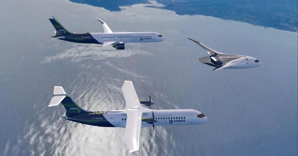 tri tipa Airbusovih aviona na vodik