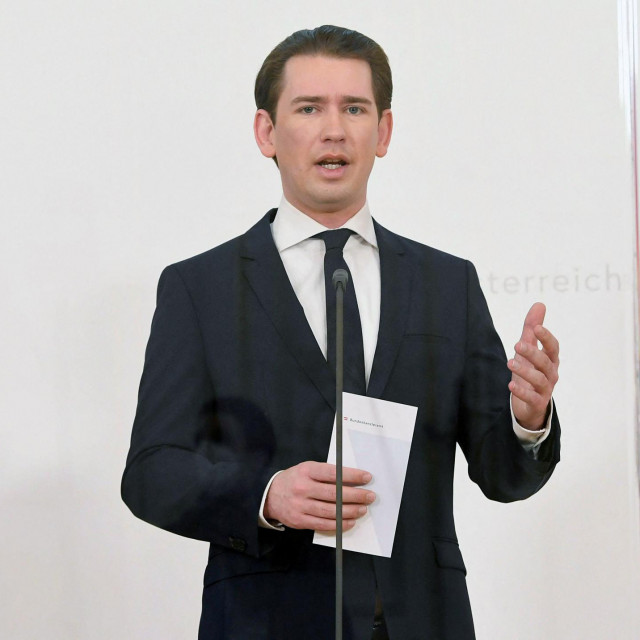 Austrian Chancellor Sebastian Kurz gives a press statement in Vienna, on March 25, 2021, as part of a European Union (EU) summit via video conference with EU leaders. - A looming third wave of coronavirus and Europe's struggles to mount a vaccination drive is to dominate the EU video summit, despite a welcome guest appearance by the US President. (Photo by HELMUT FOHRINGER/APA/AFP)/Austria OUT