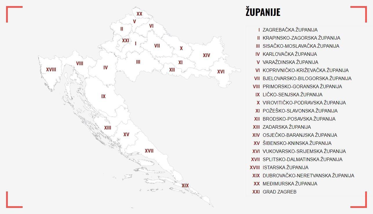 Karta dalmacija Dalmatia Map