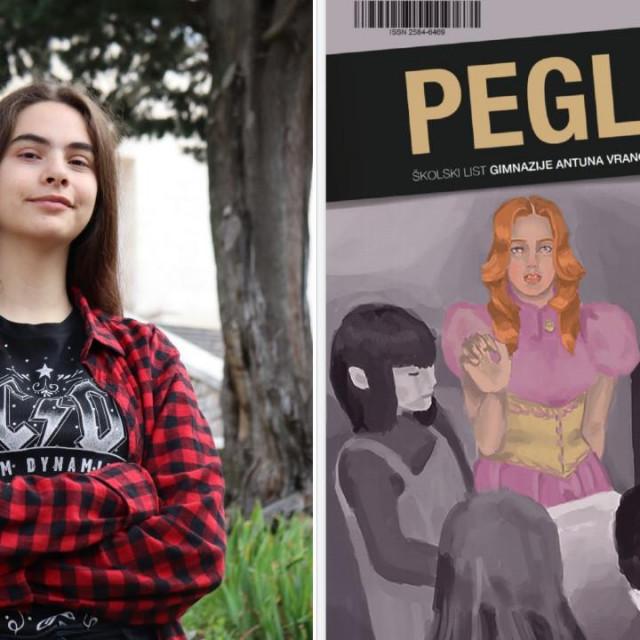 Franka Ivić, urednica lista 'Pegla', i naslovnica najboljeg srednjoškolskog lista