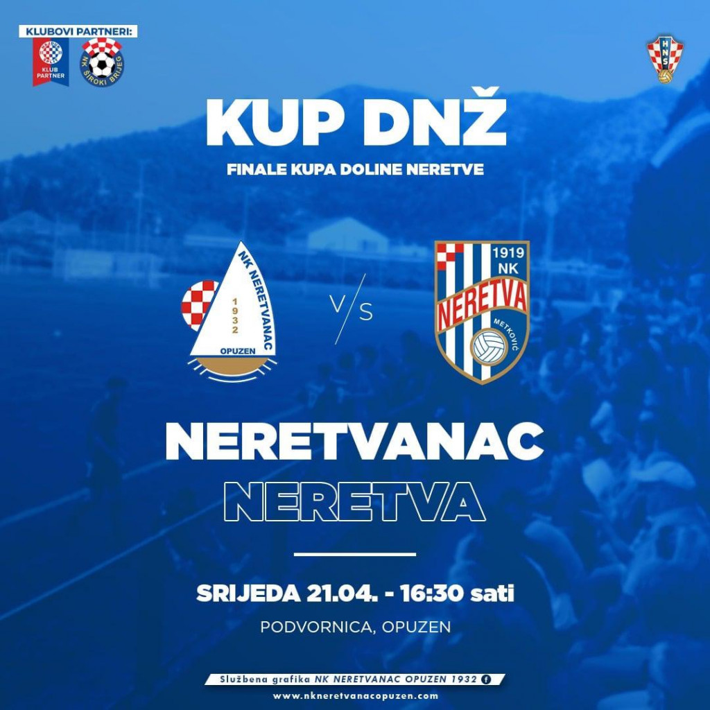 Finale Županijskog kupa Nogometnog centra Dolina Neretve, Opuzen: <strong>Neretvanac - Neretva</strong>