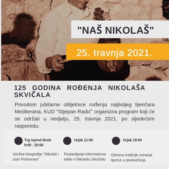 """KUD """"Stjepan Radić"""" Pridvorje programom """"Naš Nikolaš"""" obilježit će 125. godišnjicu rođenja Nikolaša Skvičala"""