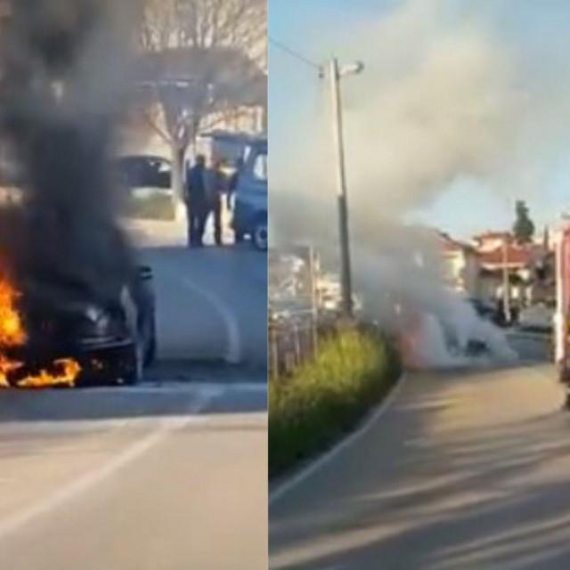 Mercedes je izgorio nasred ceste na Bokanjcu