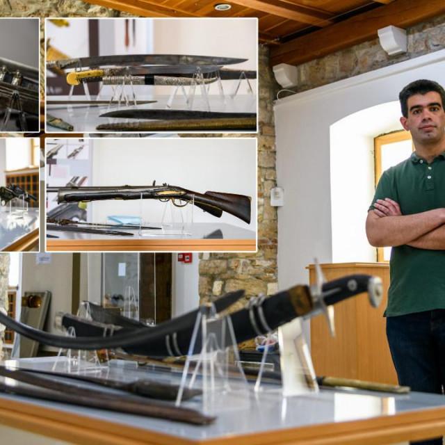 Kustos Bruno Brakus izložio je 60-ak primjerka raznog oružja, obuhvativši povijesno razdoblje od gotovo 7000 godina