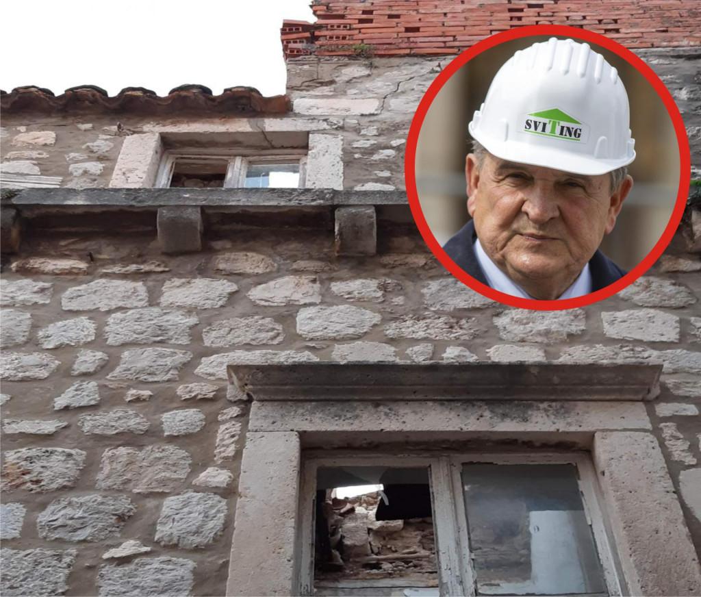 Urušena kuća u Zlatarskoj ulici i varaždinski župan Radimir Čačić (u krugu)