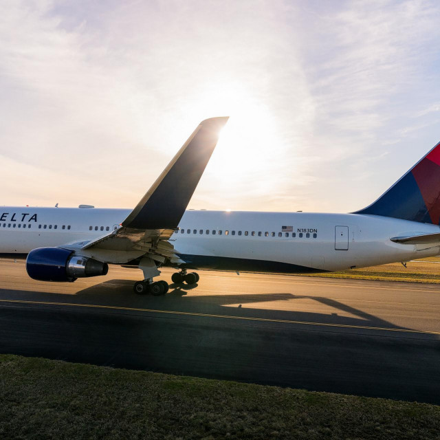 A Boeing 767-300 at the Seattle, Washington airport. |<br /> <br /> <br /> <strong>Delta-owned. No expiration date, unrestricted use.</strong><br /> <br /> <br /> These images are protected by copyright. Delta has acquired permission from the copyright owner to use the images for specified purposes and in some cases for a limited time. If you have been authorized by Delta to do so, you may use these images to promote Delta, but only as part of Delta-approved marketing and advertising. Further distribution (including providing these images to third parties), reproduction, display, or other use is strictly prohibited.
