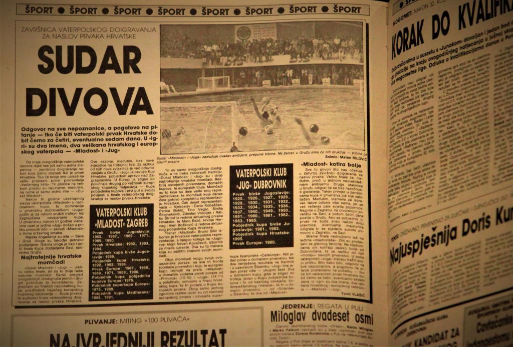 Dubrovački vjesnik 1995. godina - prvi put u finalu prvenstva Hrvatske Jug i Mladost, 26 godina poslije čeka nas njihovo 17. međusobno finale
