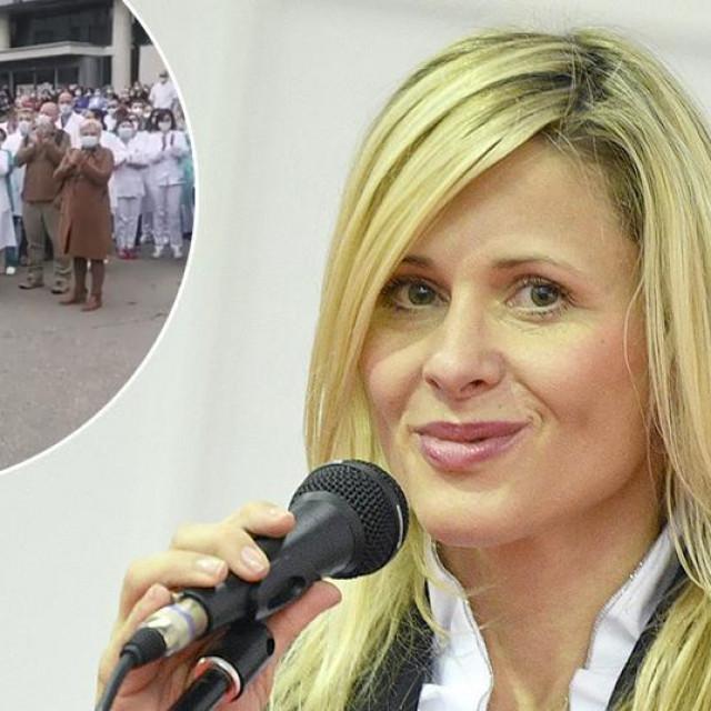 Dijana Zadravec; u krugu: prosvjed djelatnika KBC-a Sestara milosrdnica