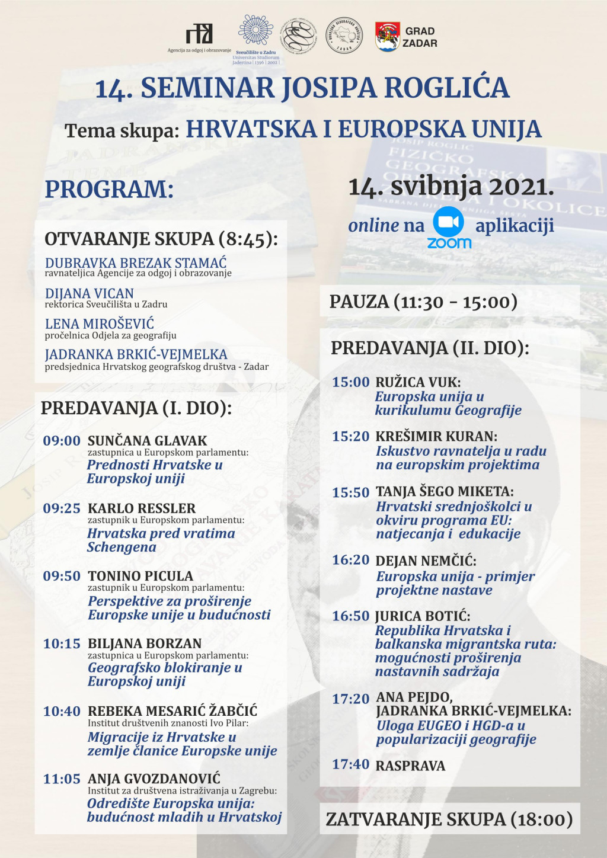 Program 14. seminara Josipa Roglića