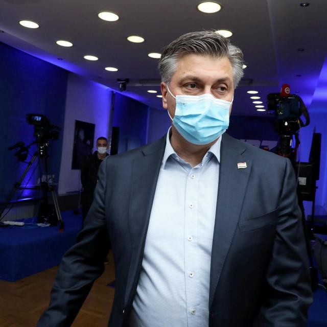 Zagreb, 160521.<br /> Lokalni izbori 2021.<br /> Trg zrtava fasizma.<br /> Izborni stozer Davora Filipovica, kandidata HDZ-a za gradonacelnika Zagreba.<br /> Na fotografiji: Andrej Plenkovic.<br />