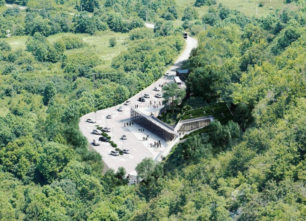 Pogled iz zraka na ulaz u Cerovačke pećine