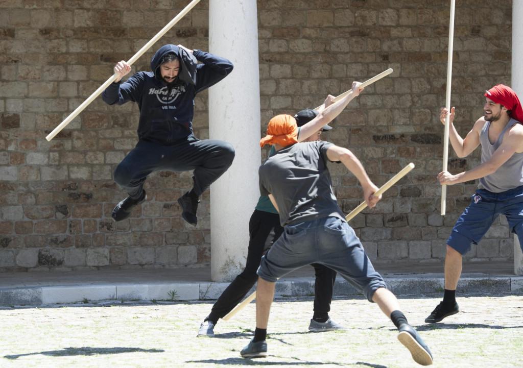 Probe za predstavu Judita u Mestrovicevom kasteletu pod redateljskom paskom Brune Bebic, ansambl cine clanovi GKM-a te UMAS-a.