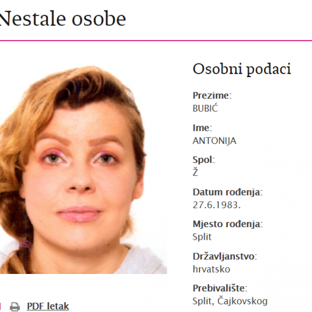 Nestala Antonija Bubić
