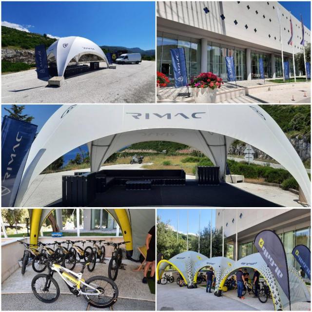 Rimac Automobili postavili su šatore u Dubrovačkim vrtovima sunca i Brsečinama, dok se Nevera navodno očekuje već sutra