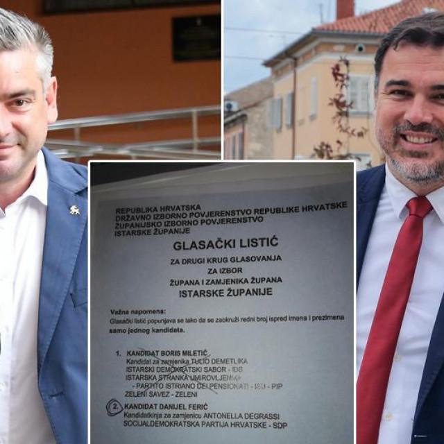 Boris Miletić i Danijel Ferić te primjer glasačkog listića koji, prema tvrdnji SDP-a, nije uvažen kao valjan, a trebao je biti<br />