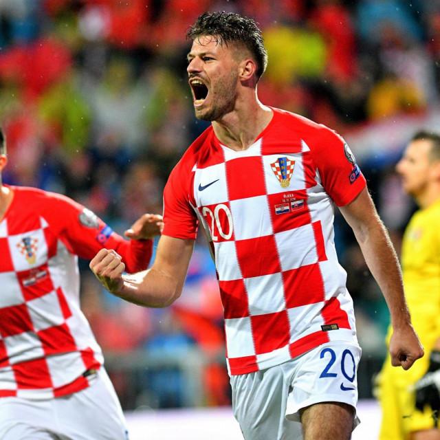 Bruno Petković slavi pogodak u 3:1 pobjedi protiv Slovačke u Rijeci - Hrvatska je tim uspjehom potvrdila prvo mjesto u kvalifikacijskoj skupini za odlazak na EP