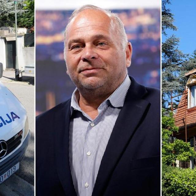 Ravnatelj HRT-a, Kazimir Bačić (u sredini), policijsko vozilo snimljeno ispred njegova stana na Tuškancu