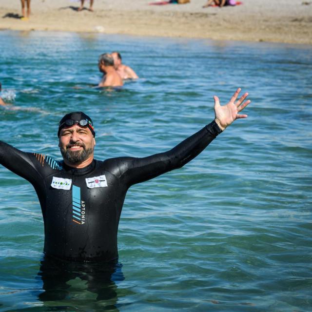 <br /> Domagoj Jakopovic RibaFish u akciji Rokotok plivao je od Brodarice do otoka Krapnja.
