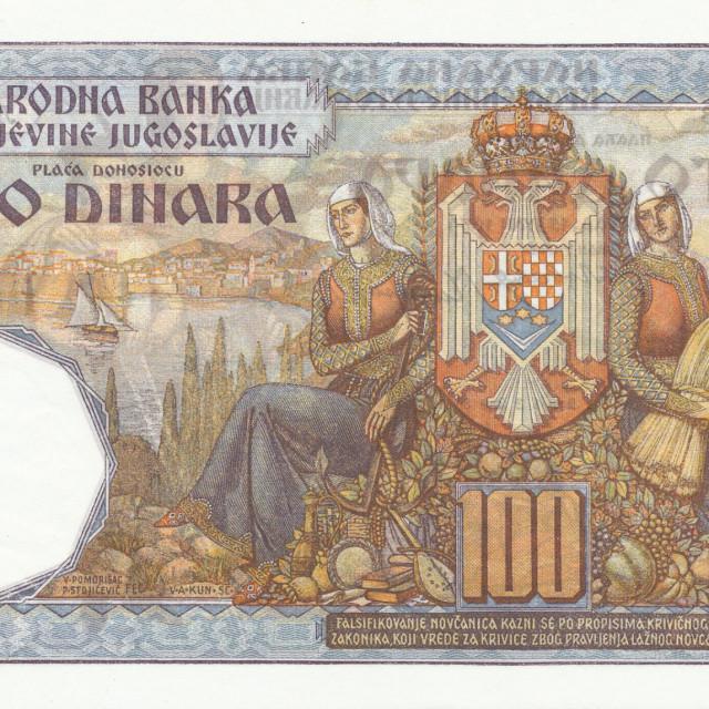 Dubrovnik na novčanici Kraljevine Jugoslavije od 100 dinara od 15. srpnja 1934., puštenoj u promet 6. travnja 1941.