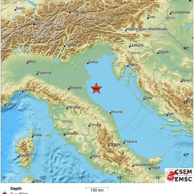 Karta područja pogođenog potresom