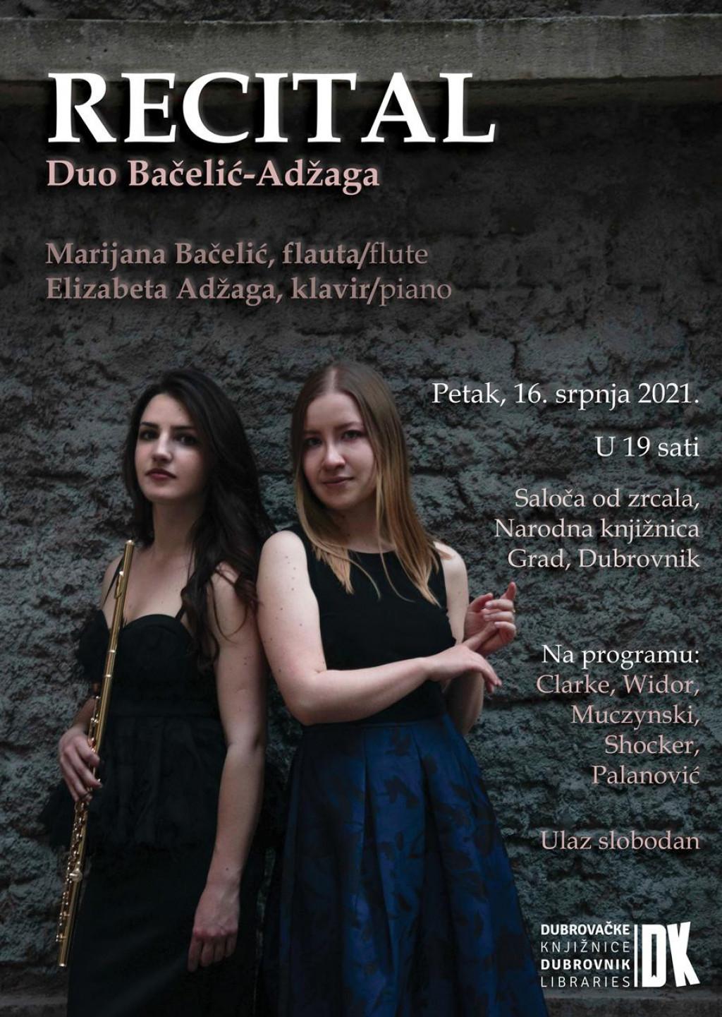 Flautistica Marijana Bačelić i pijanistica Elizabeta Adžaga