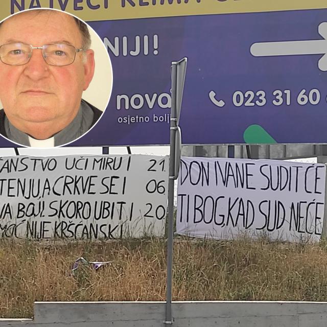 Don Ivo Ćurić, svećenik u župi Sv. Petra i Pavla na Velikom Ižu, transparenti