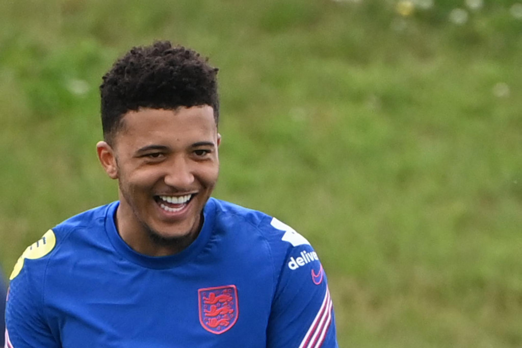 England's forward Jadon Sancho attends an England training session at St George's Park in Burton-on-Trent, central England, on July 5, 2021. - England take on Denmark at Wembley on July 7, 2021 in the semi-finals of the UEFA EURO 2020. (Photo by Paul ELLIS/AFP)