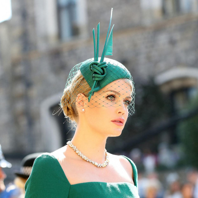 Kitty Spencer arrives arrives for the wedding ceremony of Britain's Prince Harry, Duke of Sussex and US actress Meghan Markle at St George's Chapel, Windsor Castle, in Windsor, on May 19, 2018. (Photo by Gareth Fuller/POOL/AFP)