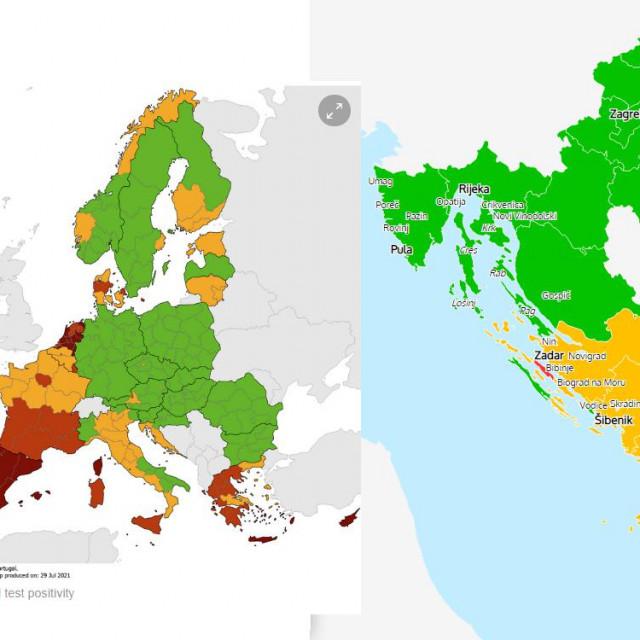 Različiti kriteriji na COVID kartama EDCD-a i Hrvatske udruge turizma