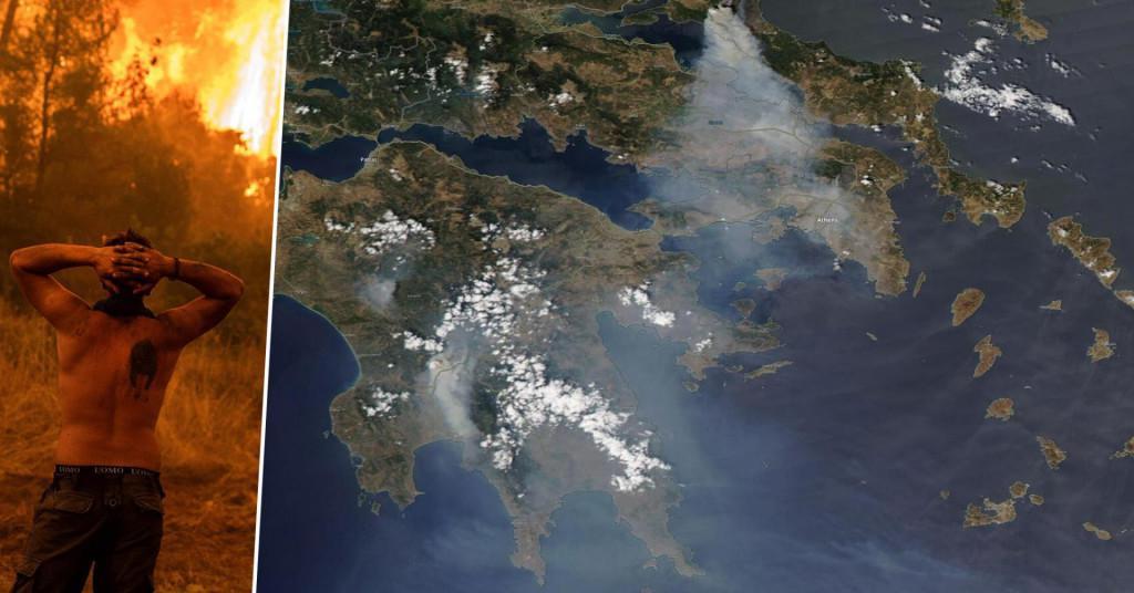 Satelitske snimke požara u Grčkoj