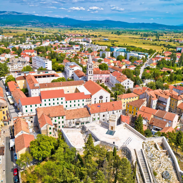 Town of Sinj in Dalmatia hinterland aerial view, southern Croatia