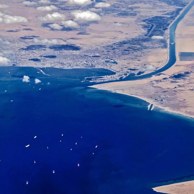 Ulaz u Sueski kanal na jugu, nakon što je kanal blokirao Ever Given